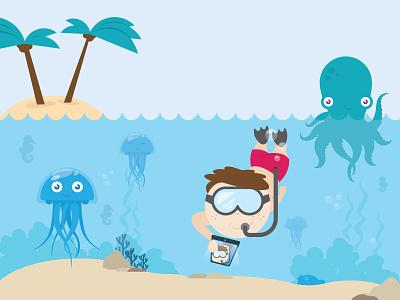 The Art Of The Selfie red neutral green blue sand jellyfish medusa sea palm octopus snorkeling ocean