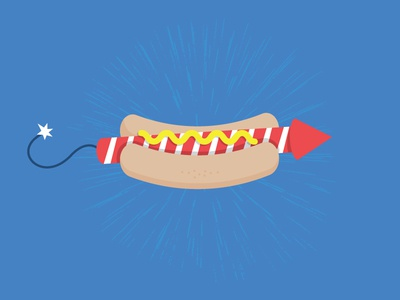 Happy 4th of July mustard red blue hot dog fireworks usa picnic america holiday 4th of july fourth of july