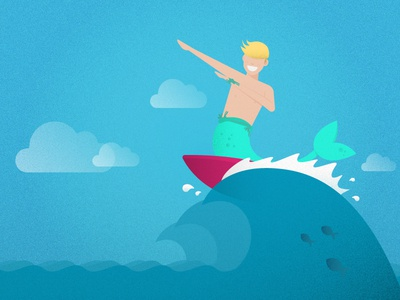 Gnarly ... mer ... dude fish white green blue sea summer sky red waves surf surfer merman