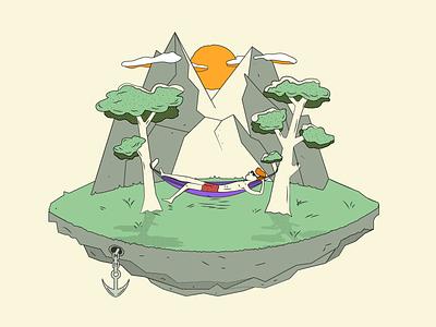 Sundaze vacation anchor man vector hammock trees sun island orange purple green illustration
