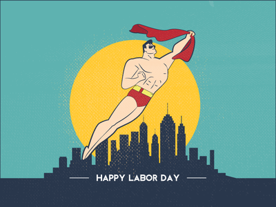 LDW Heroes happy red yellow blue beach city superman illustration labor day ldw