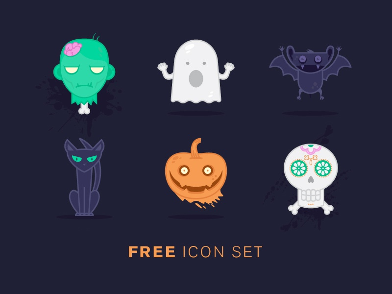 Halloween Freekons vector zombie bat cat green character clean flat icon illustration free halloween