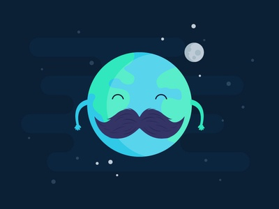 Movember Earth character vector space moon moustache green movember earth blue illustration design flat