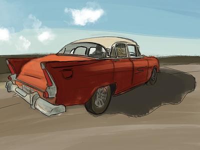 Digital art cuba car drawing art digital procreate