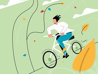 Man Cycling Illustration branding simple bike drive fast adobe illustrator vector design flat illustration illustraion cycling cycle