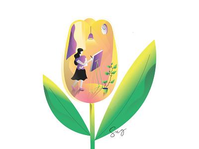 Girl drawing inside flower painting artist girl boss flower pot creative drawing gradient vector illustration 3d character girl illustration flower girl