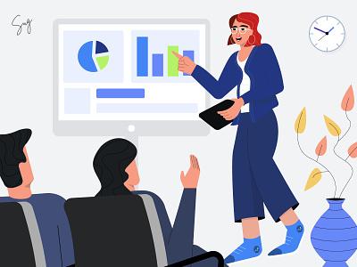 Sales Presentation character vector flatillustration discussion meeting client illustration presentation sales