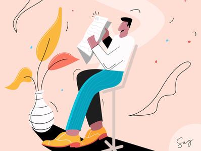 Man Reading Newspaper newspaper adobe illustrator boy character illustration vector design creative web man