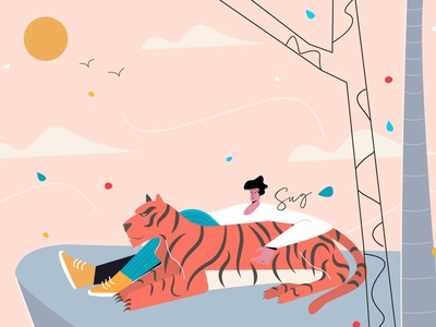 Chilling with Pet Illustration flatillustration sky vector vectorart illustration pet man tiger