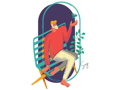 Illustration Concept Mindfulness adobe illustrator web illustration flat illustration sitting butterfly park chair man creative design illustration