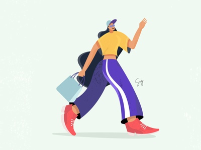 Girl Walking pose adobe illustrator character vector illustration girl illustration model walk walking girl