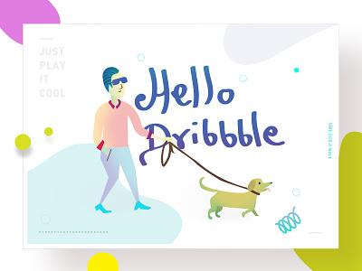 Hello Dribbble Illustration hello dribbble design character website man colorful dog walk illustration