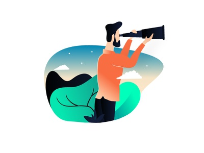 Search Beyond Adventures ai psd free noise forest character illustration vector man adventure sky searching