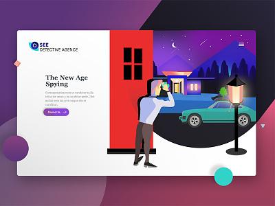 Detective Agency Website design web ux ui vector noise man spy illustration agency website detective