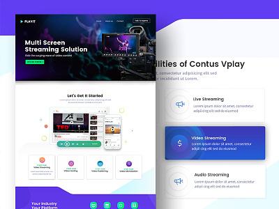 Video streaming website solution page web design landing illustration icons video website web