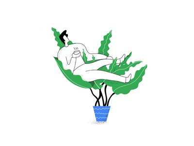 Sync with Nature Illustration character design creative google doodle web illustration quote noise brush relax house plant flower pot coffee plant leaf man boy illustration