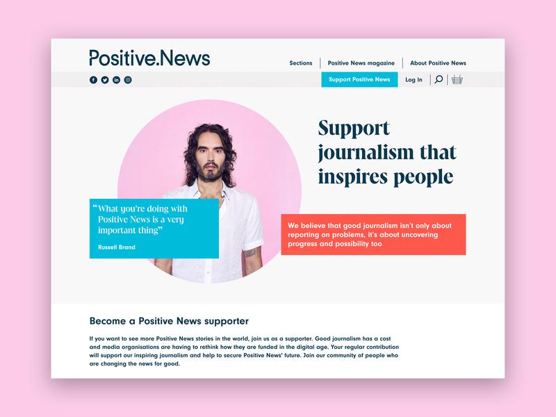 Positive News website redesign development wordpress ux design ui design website design