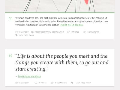 Personal Tumblr Theme - Photo & Quote posts. WIP  tumblr theme blog clean minimal white green grey quote post ptsans merriweather
