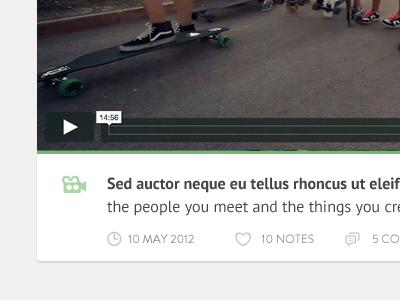Personal Tumblr Theme - Video post detail. WIP clean minimal white blog tumblr theme video green grey