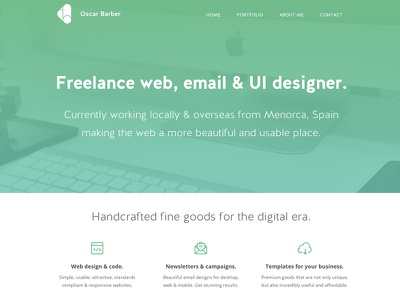 oscarbarber.com - Homepage detail portfolio homepage webdesign freelance clean minimal website email frontend templates