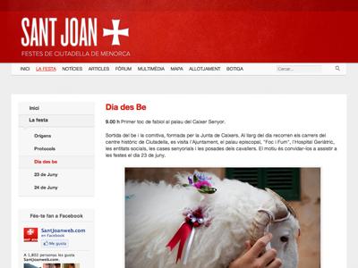 Santjoanweb.com- Inside (website redesign) website redesign white clean grey red tabs texture sidebar navigation
