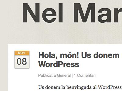 Blog post and header details on new Wordpress site blog post detail calendar title header cream orange white texture