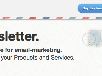 """New email template """"Storesletter"""" product page email template airmail button buy stamp clean texture css3 postage"""