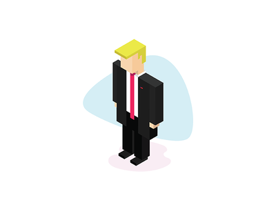 Isometric Trump minimal united states of america president trump potus isometric illustration donald trump