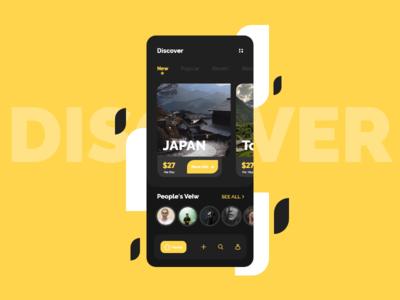 Tour Guid clean tokyo minimal app dark app mobile branding tour guide yellow uiux uidesign ui theme dark ui black  white black japan tourism travel tour