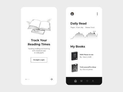 Book Reading Tracker app reading app light black minimal white yellow 2d typography icon ux design clean branding ui tracking track read book