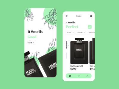 Perfume Shop luxury black smell perfum perfumery perfume green application app design 2d typography ui icon ux design clean branding app minimal