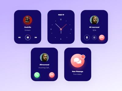 Smart Watch Concept call message light dark dark app dark ui smarthome smart watch smartwatch smart design app ux ui clean branding minimal