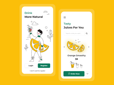 smoothy application design mobile yellow illustration 2d design ux app ui clean branding minimal