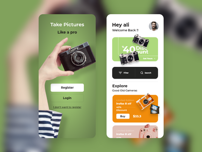 Old Cameras SHOP green energy desktop mobile application green app camera photography photos green typography 2d design app ux ui clean branding minimal