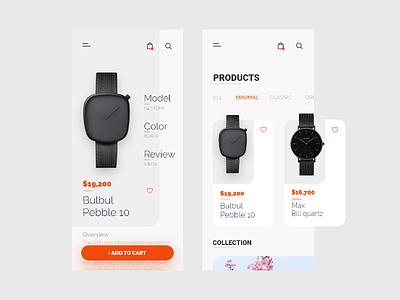 watch shop app illustration icon ui ux typography minimal design clean branding