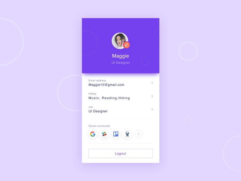 Profile page project typography ui illustration page purple profile design
