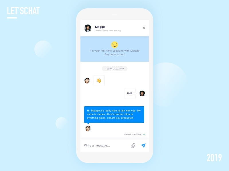 Chat page blue page chat ui design