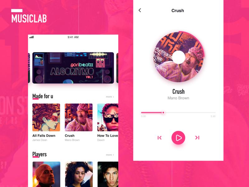 Musiclab page music album music art music app ui design music ui