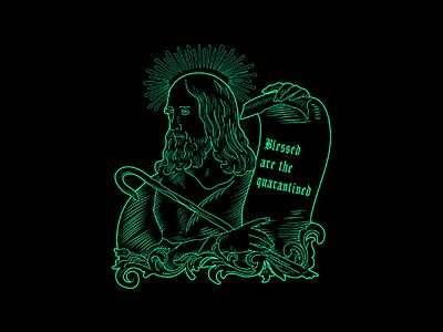 Blessed are the quarantined neon vector illustrator illustration line art religious quarantined coronavirus covid19 covid