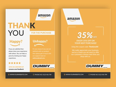 Amazon Thank You Card, Product Insert, Package Insert