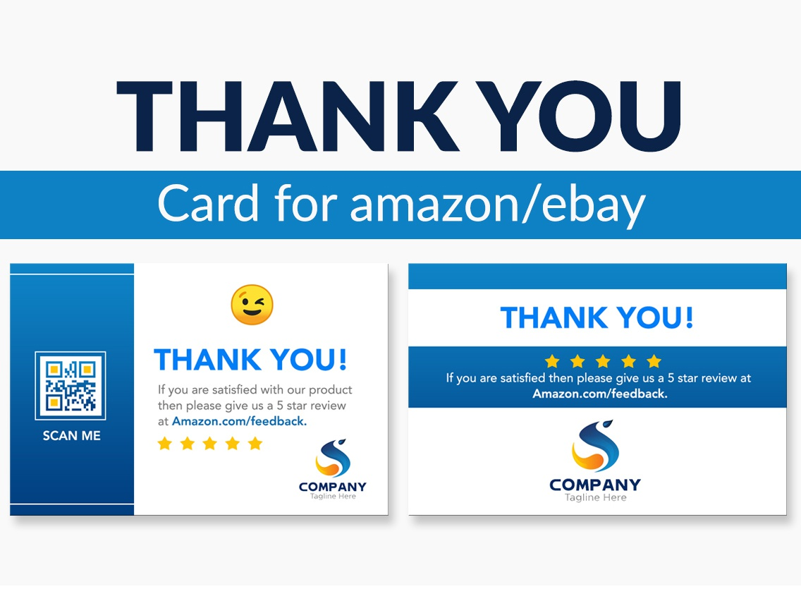 Amazon Thank You Card Design, Product Insert,  Package Insert logo graphic design ecommerce creative custom business product branding design corporate design product insert clean product design product card thank you card design minimal blue gradient business card design card design amazon fba