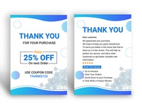 Amazon Thank You Card Design, Product Insert, Package Insert