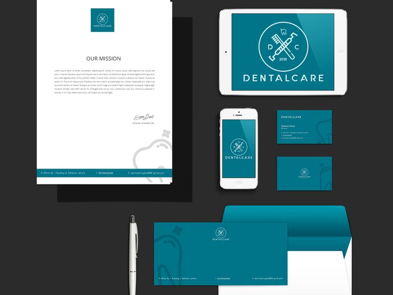 DentalCare   Branding Identity Mock Up illustration flat logo stationery mockup design stationery design branding