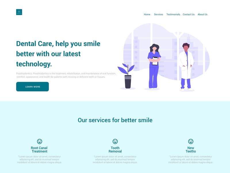 Dental Hospital Web Design vector ux ui minimal design minimalism website design web designer web desgin webdesign illustration flat design