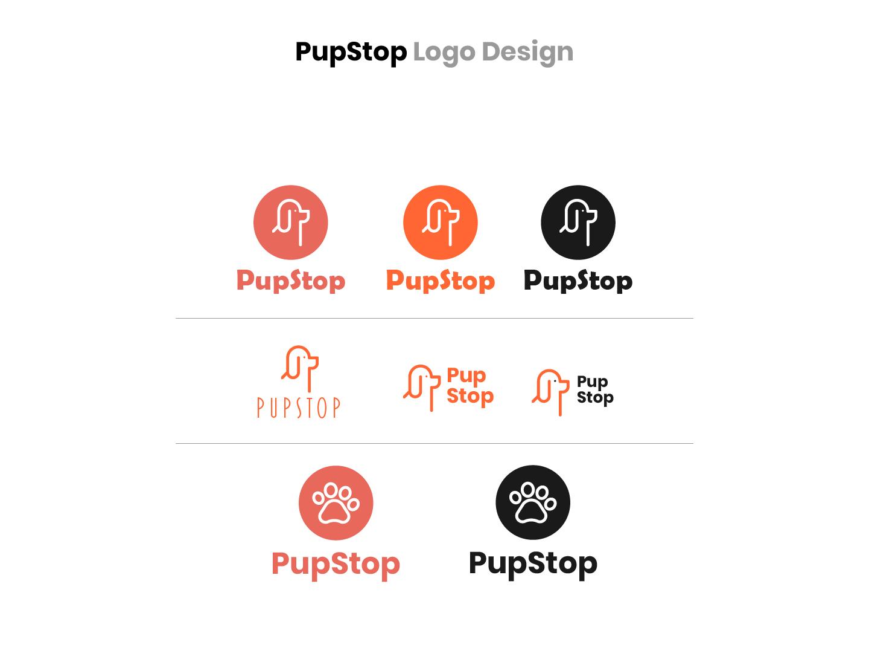 Pupstop Logo Design ui icon logo design concept logo branding logo design challenge illustration flat logo design