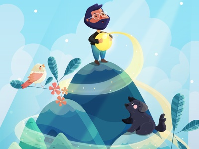 Everything is connected bird nature boat landscape calafate argentina illustrator dog love flat kawaii vector cute illustration