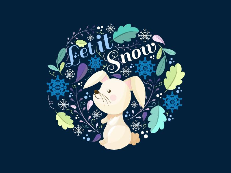 Let it snow for Freepik winter leaves. snow. vector illustration freepik flat bunny rabbit cute cold