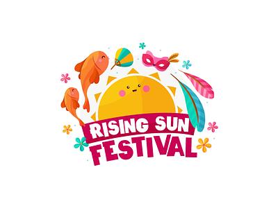 Rising Sun Festival / Japan festival flat kawaii logo flowers mask feathers fish sun festival rising sun sun japan