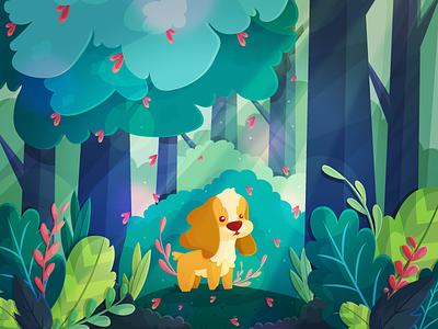 My good boy! flat illustration vector cocker spaniel kawaii cute spaniel cocker trees forest dog