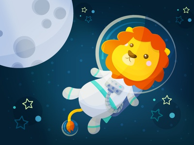Space Lion stars moon illustration kawaii vector cute lion space